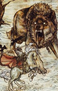 Battle against Fenrir - Arthur Rackham