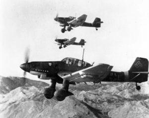 Squadron of Stukas in flight